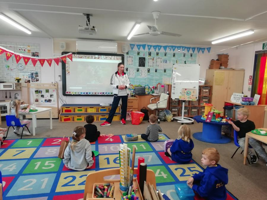 Isabel Haigh talking to EYFS