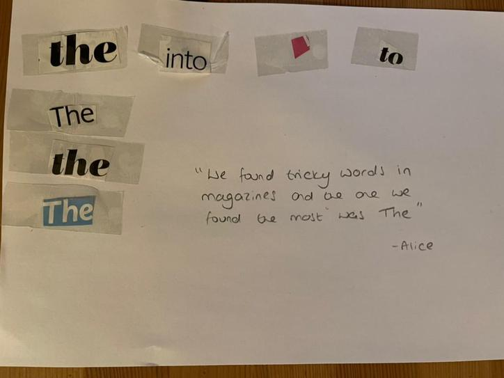 Alice found her tricky words in magazines!
