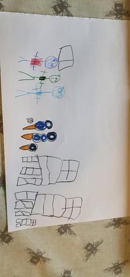 Maisie's illustrations for her innovated story