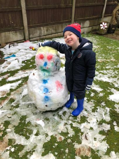 Snowman building and painting!
