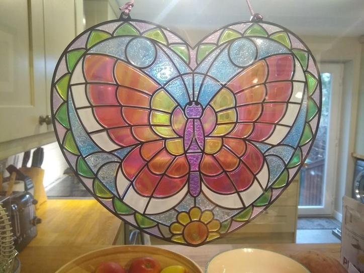 Evie made some stained glass art!