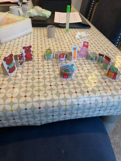 Genevieve made her own small world characters to play with!