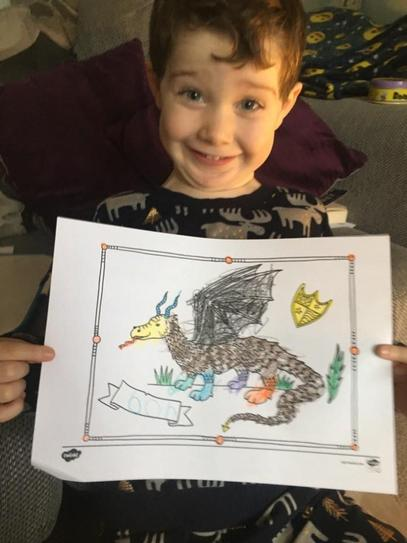 H coloured in a dragon beautifully and called it Bob!