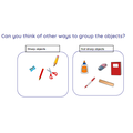 Children grouped objects according to their attributes.