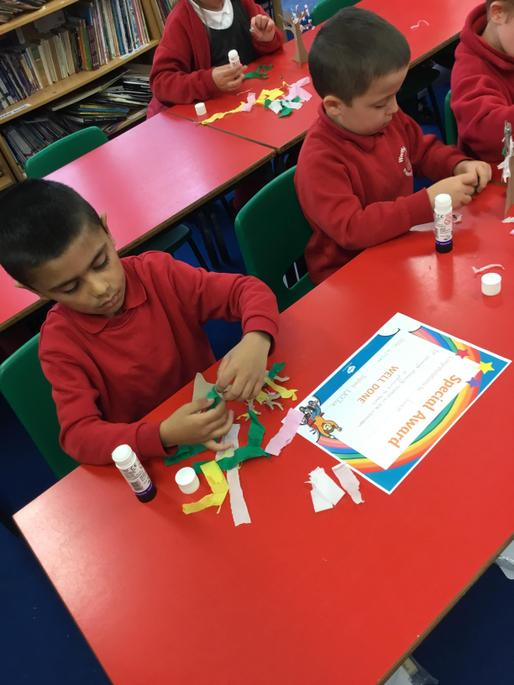 Craft Activity.  Making a seasonal tree, showing spring and Autumn