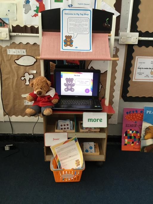 Barnaby Bear asked the children to sort the toys in his shop into two groups, More / Fewer