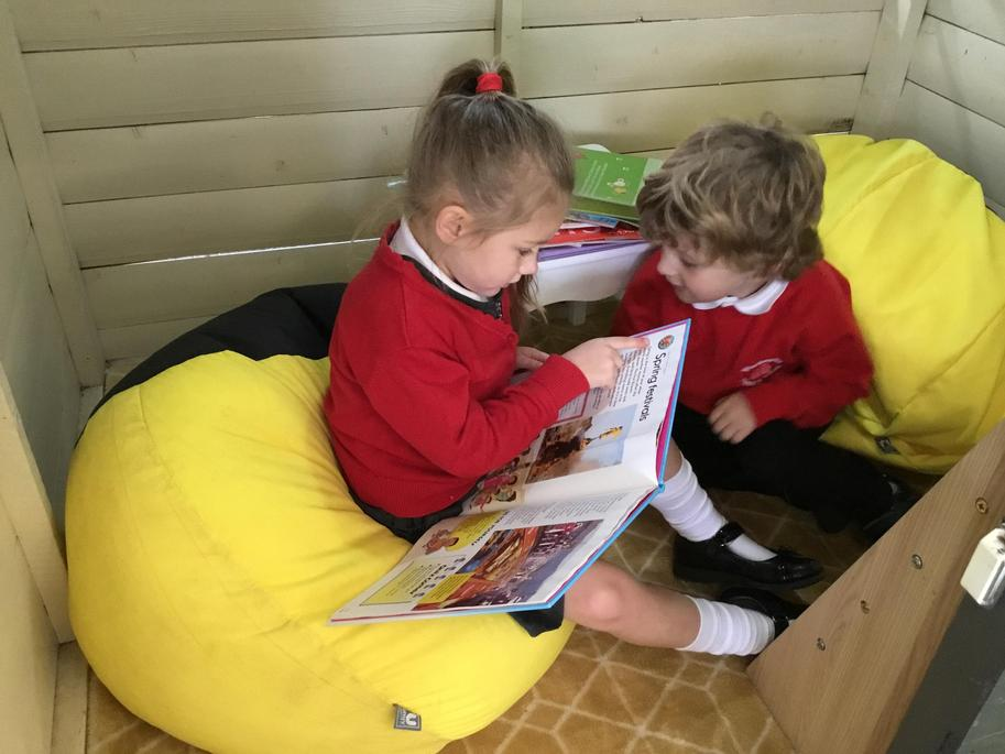 Story time in the Cosy Den
