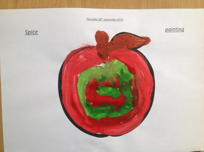 A Reception child's spice painting.