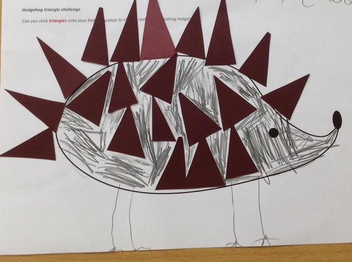 A triangle shape picture by a reception child