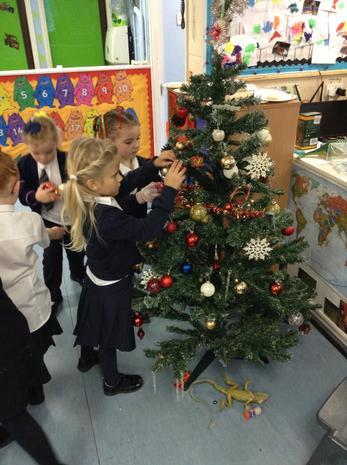 Decorating the tree.