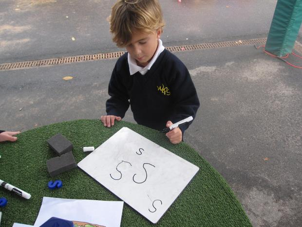 Practising our letter formation.