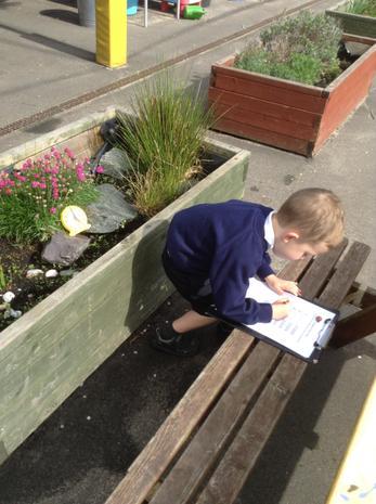 Writing outside.