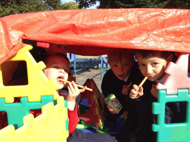 We built dens and even had snack out there!