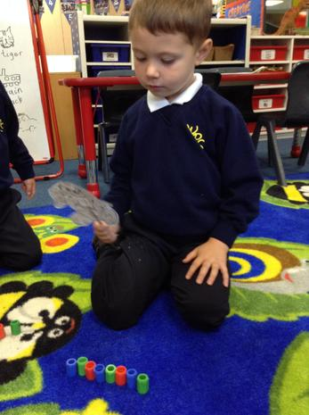 We made repeating patterns with various equipment.
