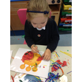 Creating Play-dough monsters