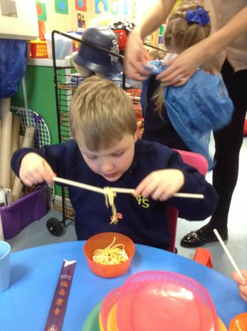 Chinese New Year - using chopsticks!