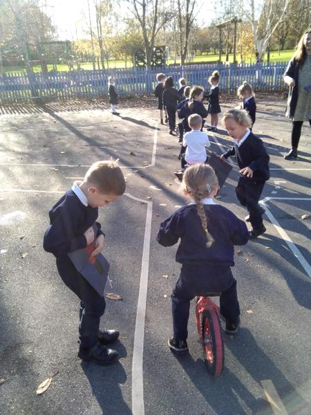 Acorns on their busy road using the traffic light system.