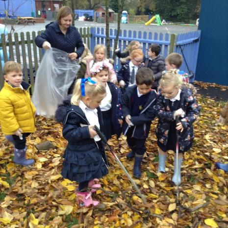Litter picking to help look after our school.