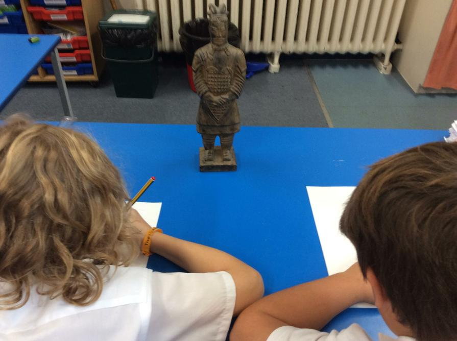Terracotta Army figures were drawn using charcoal