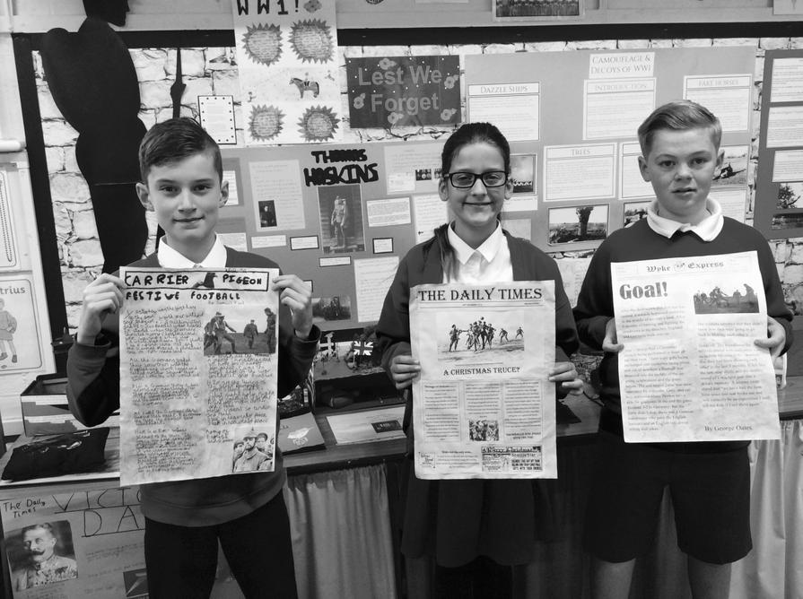 We created WW1 newspaper front covers.