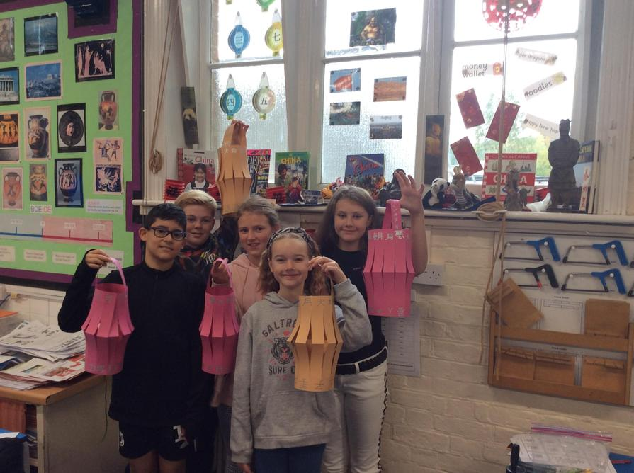 We decorated our lanterns with Chinese writing.