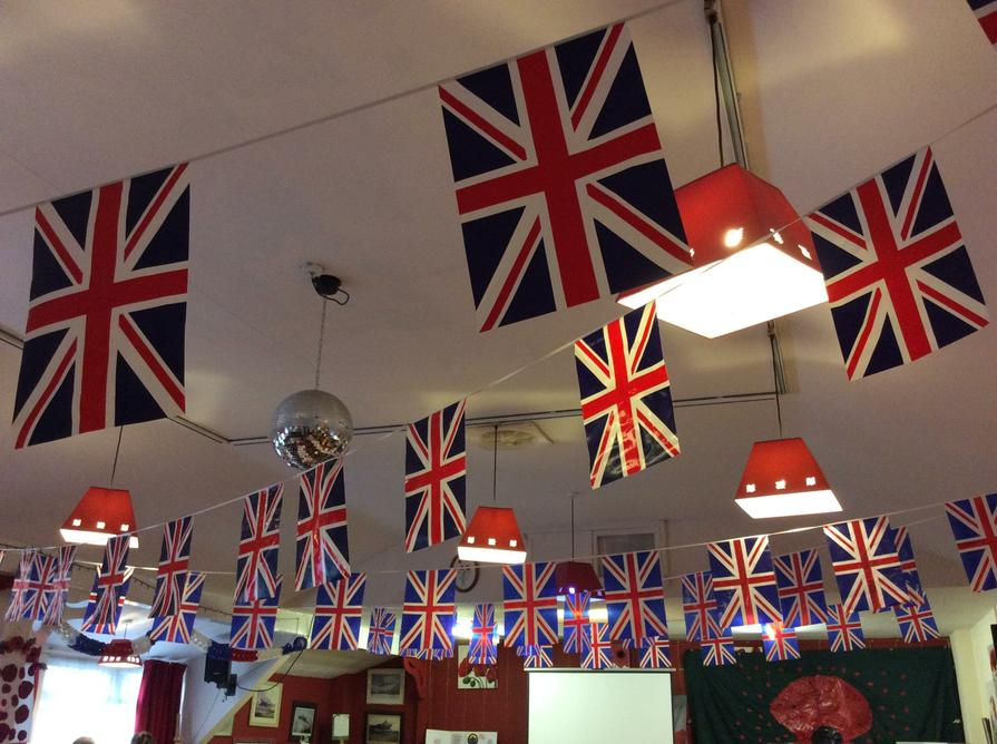 The room was decorated with many flags