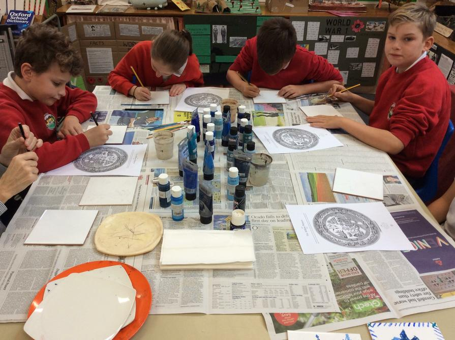 The week began with ceramic Willow Pattern tiles