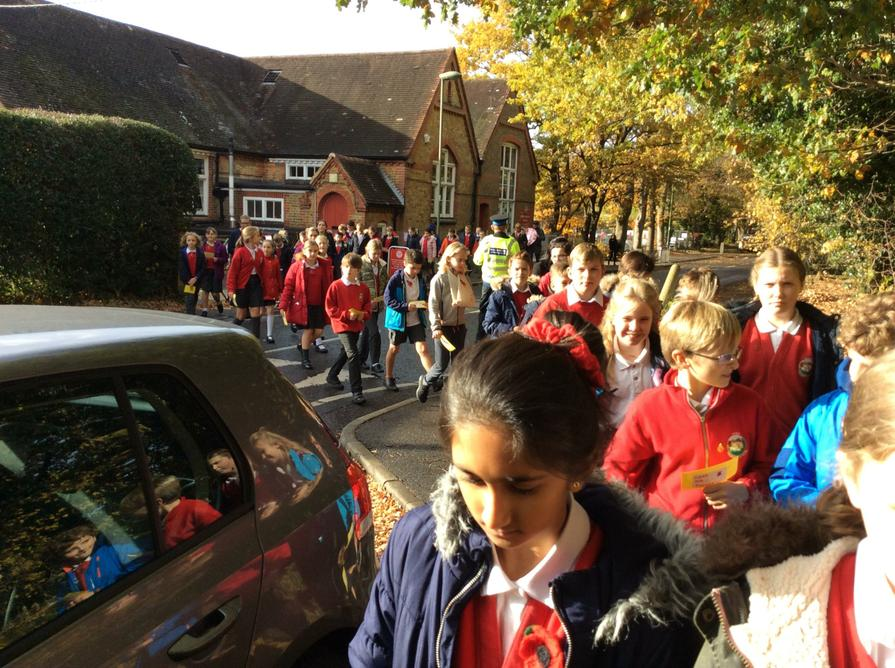 Year 5 and 6 set out on a Remembrance march