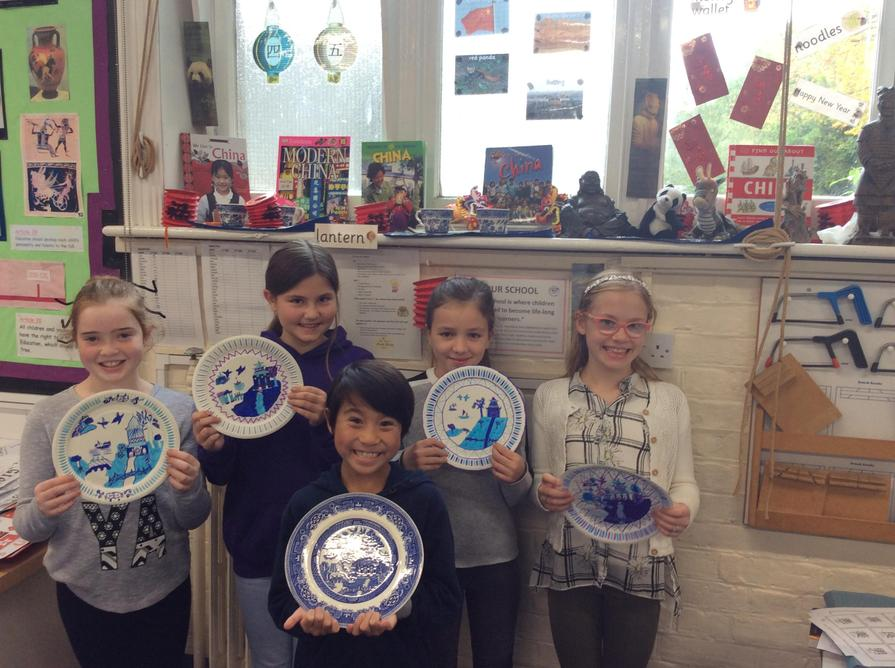 We made beautiful Willow Pattern plates.