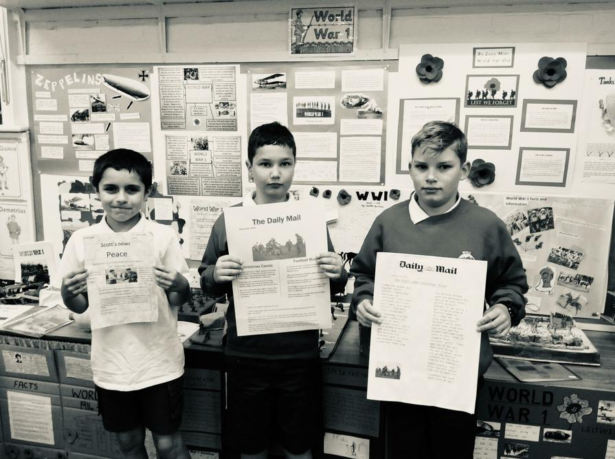 We all created the front page of a WW1 newspaper