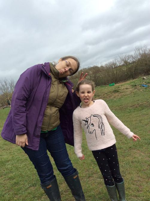 Holly encouraging Mrs Mac to pull a silly face.