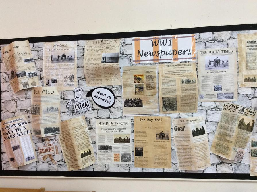 Our WW1 newspapers are now displayed in the hall.