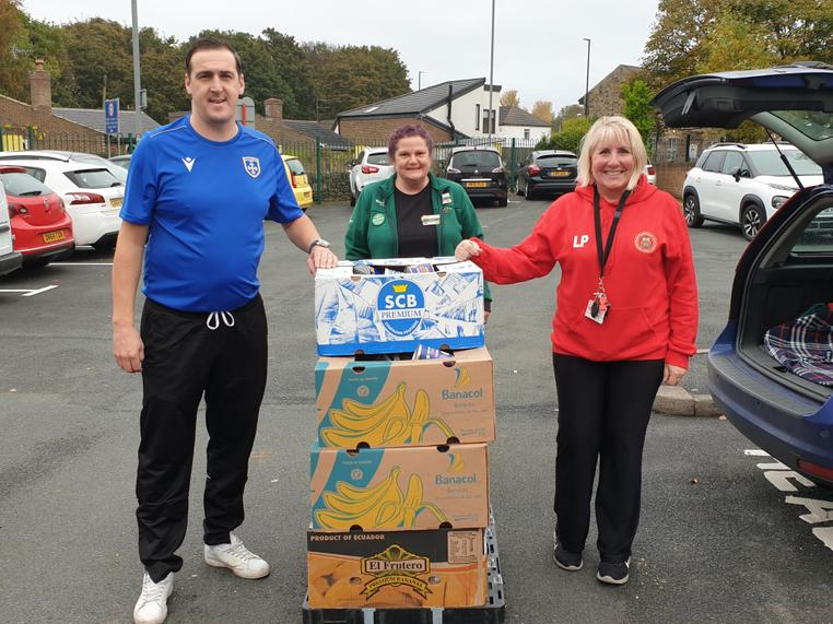 Guiseley Community Football and Morrisons support with food hampers for families. Oct 20.
