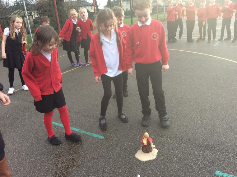 Exploding our volcano was great fun.