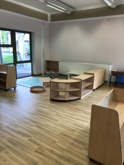 Furniture being placed in the new block area.