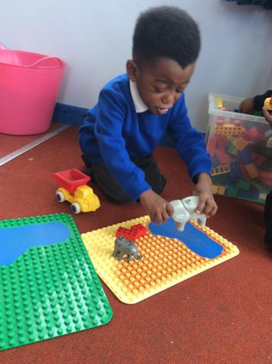 We played with lego bricks.