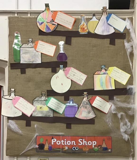 The children's potion bottles all ready for use on the Potion Shop shelves!