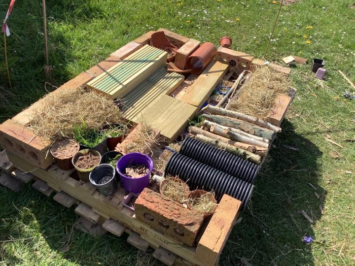 Our bug hotel - a work in progress