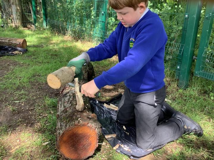 Preparing the wood for next week's capfire!