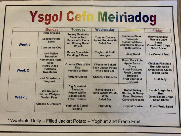 This is the school lunch menu which differs slightly to the one above.
