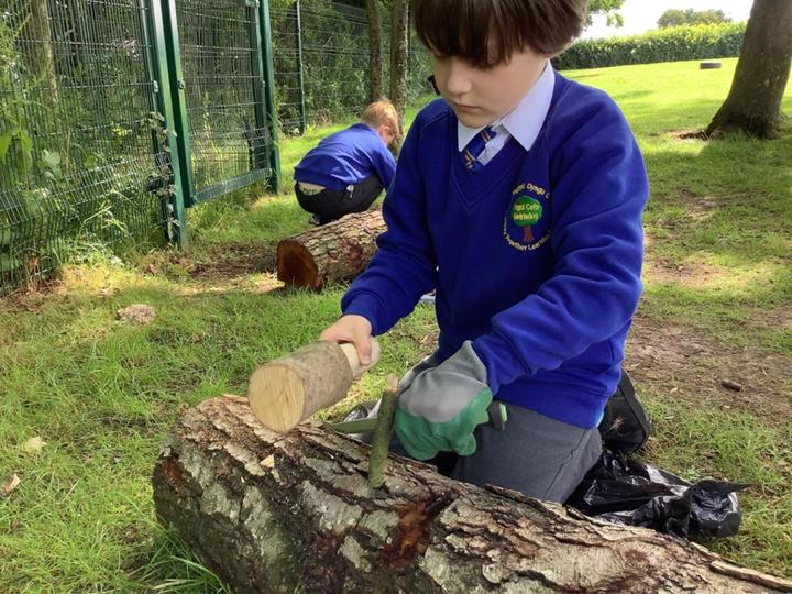 Using the mallet to split the wood