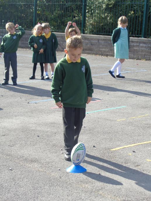 We measured the distance the ball travelled.