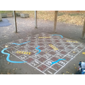 The completed snakes and ladders board