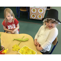 Making daffodils out of playdough