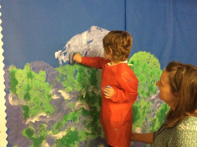 Preparing the role play corner!
