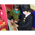 Lost in books with our Year 6 buddies!