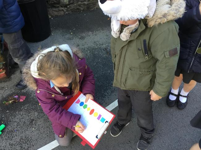 Searching for shapes outside and keeping a record.