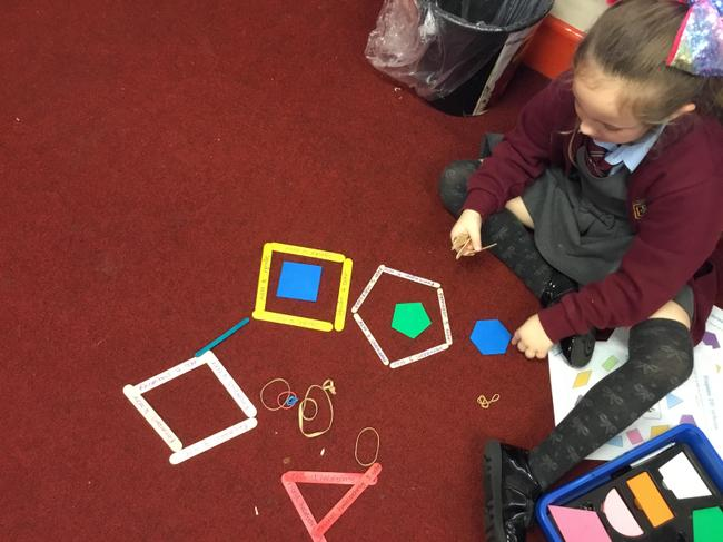 Creating shapes with lollipop sticks