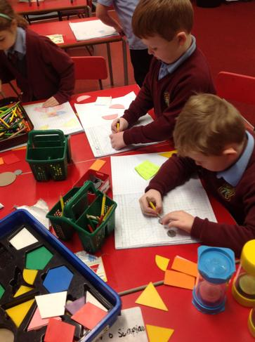 Creating aliens using 2d shapes.