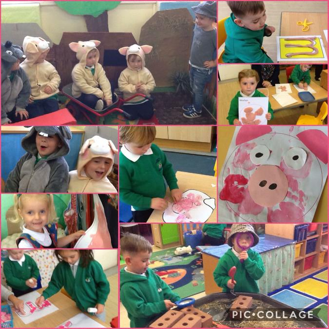 Mwynhau Y 3 Mochyn Bach/Enjoying The 3 Little Pigs